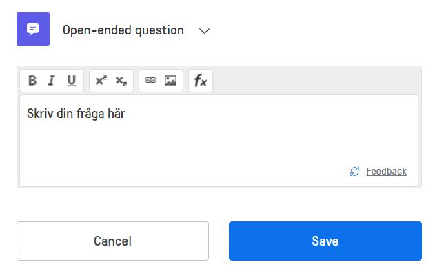 öppen fråga text